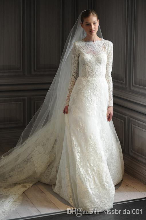 Wholesale lace wedding dresses buy vintage lace 2014 for Crew neck wedding dress