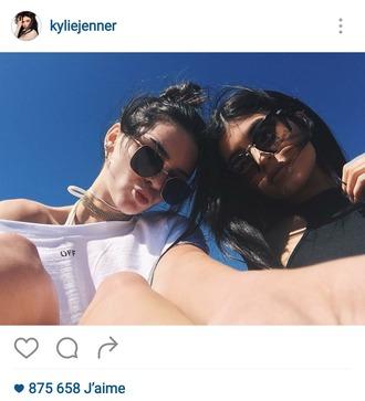 sunglasses kendall jenner top kylie jenner kendall and kylie jenner instagram black dress white top