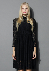 dress,blithe daisy lace dress in black,chicwish,black,lace dress