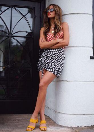 shoes mules yellow skirt mini skirt top rocky barnes instagram blogger