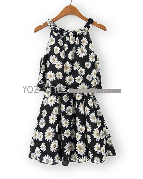 Sleeveless Daisy Print Dress - YOZI | YESSTYLE