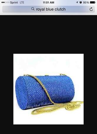 bag tube clutch crystal purse envelope clutch royal blue