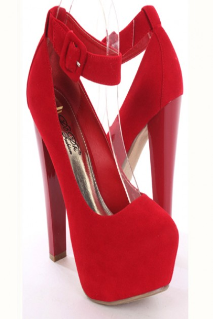 Red velvet ankle strap platform heel pumps @ amiclubwear heel shoes online store sales:stiletto heel shoes,high heel pumps,womens high heel shoes,prom shoes,summer shoes,spring shoes,spool heel,womens dress shoes,prom heels,prom pumps,high heel sandals,ch