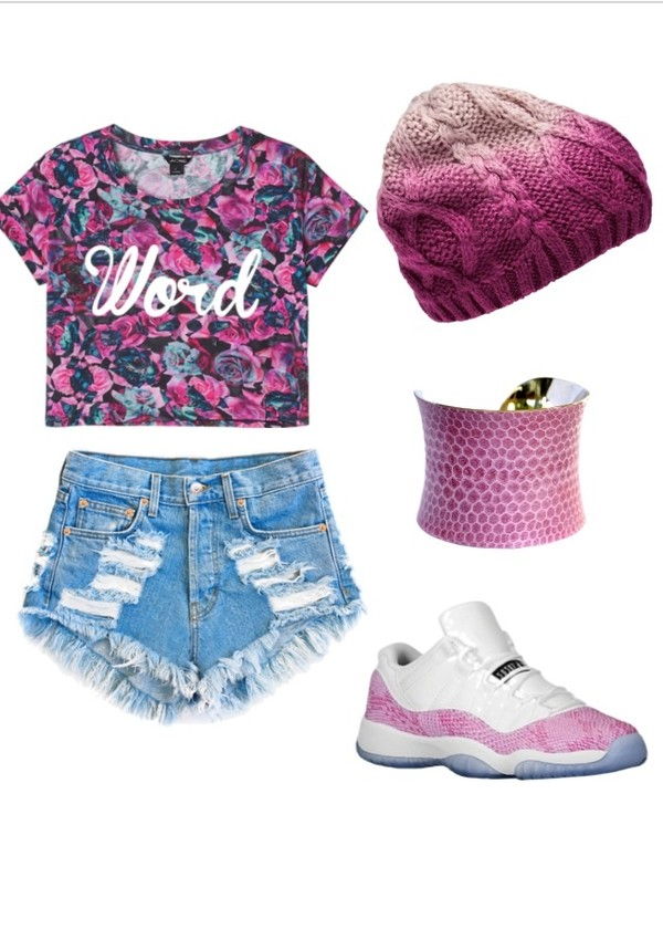 shoes High waisted shorts shorts beanie snake skin print pink jordans cute outfits tumbrl outfits outfit shirt hat blouse clothes jewels skirt crop tops bracelets top hair accessory