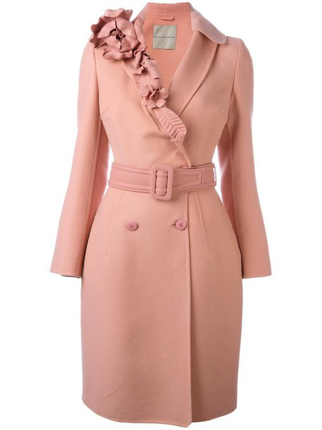 Ermanno Scervino coat women floral wool purple pink