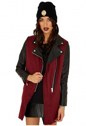Emila Zip Detail Biker Jacket  - Coats & Jackets - Missguided