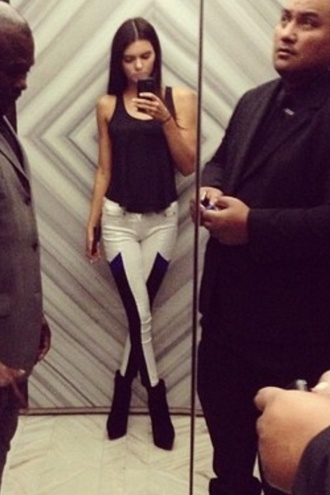 pants leggings black and white kendall jenner cute b&w