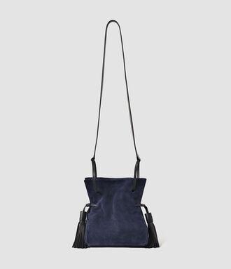 bag mini bag all saints tassel navy suede