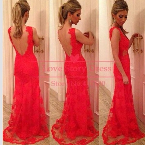 dress lace dress red dress prom dress backless dress red long backless prom\ evening gown