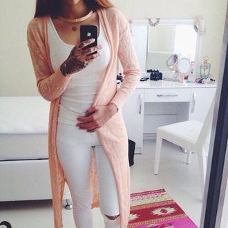 cardigan pink coral shirt jeans