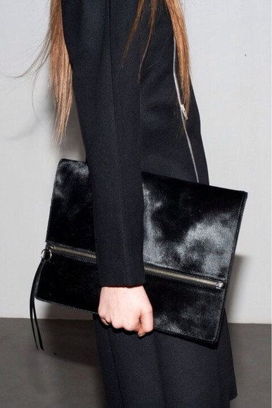 black oversized bag fur clutch