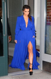 dress,long blue plunging neckline,kim kardashian,shoes,balmain,blue dress,royal blue