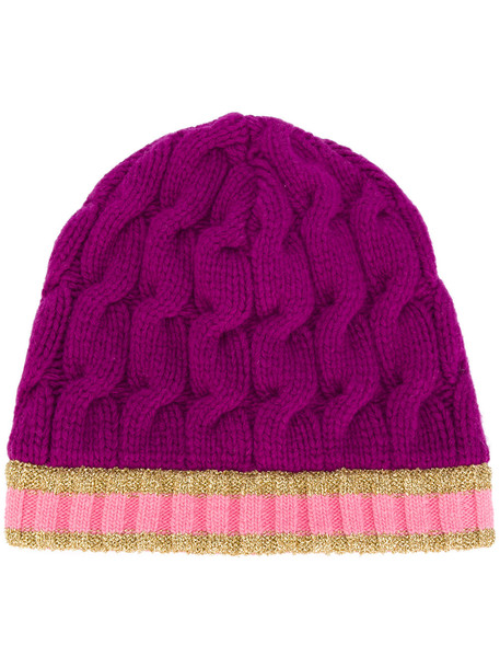 hat beanie purple knit pink