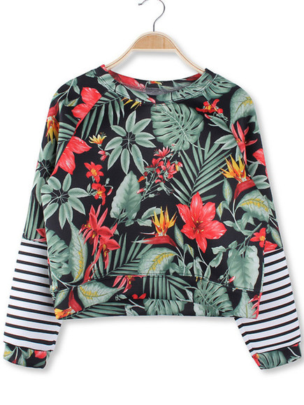 crop tops stripes top sweater tropical palm tree print