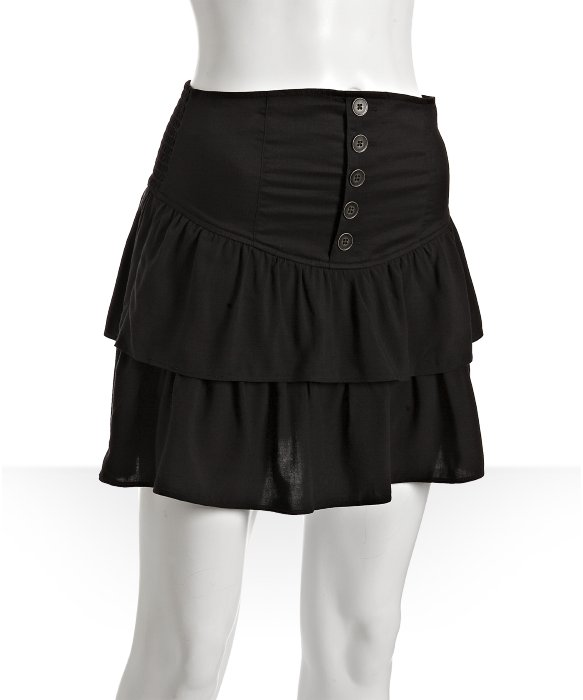 Free People black 'Shakeit' ruffle tiered skirt | BLUEFLY up to 70% off designer brands