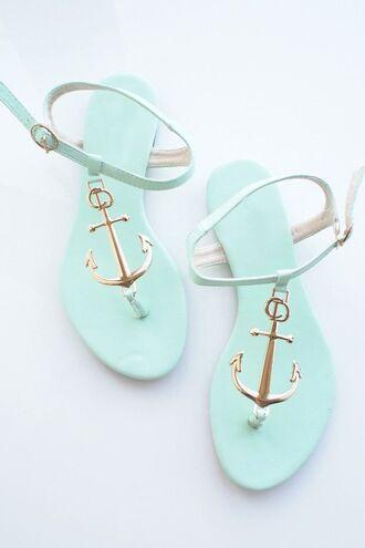 shoes sandals light anchor light blue delicate