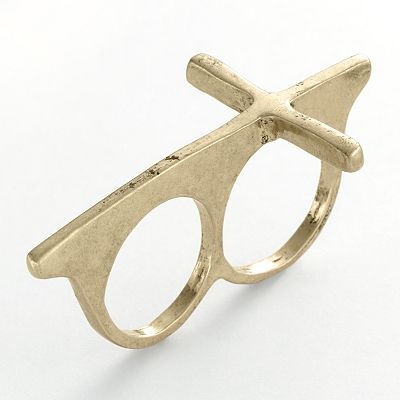 Mudd gold tone cross two finger ring