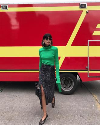 skirt black shoes top green top tumblr asymmetrical midi skirt slit skirt shoes turtleneck
