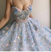 dress,blue floral dress,floral dress,lace dress,blue,floral,prom dress,embroidered,flowers,blue dress