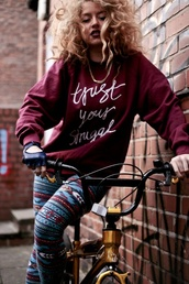 sweater,trust your struggle,burgundy,sweatshirt,bike,one glove,burgundy sweater,curly hair,fall outfits,leggings
