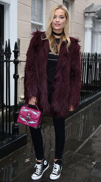 coat top sneakers purse laura whitmore fashion week 2016 london fashion week 2016 streetstyle