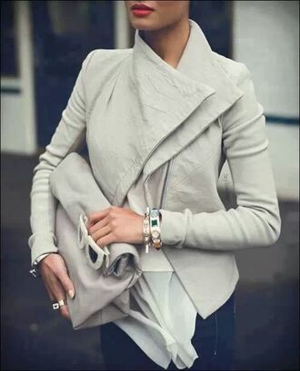 coat leather jacket grey bag hair accessory jacket gray jacket white neutral colors wrap chic leder jacket style red lipstick sunglasses perfect