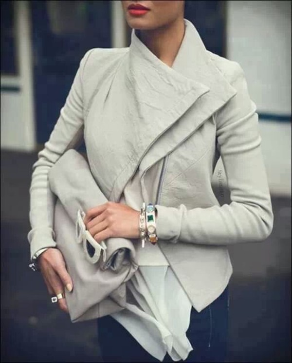 coat leather jacket grey bag hair accessory jacket blouse cardigan white jacket classy classy jacket style nude jewels jeans ripped jeans t-shirt sunglasses black/white jacket hot streetwear streetstyle outfit winter outfits winter jacket denim jacket skinny bodycon make-up lipstick red lipstick