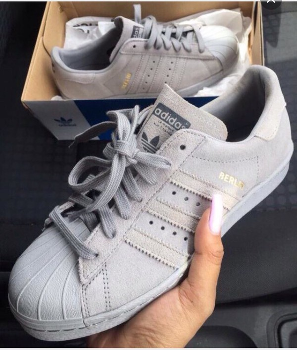 shoes adidas superstars grey suede sneakers