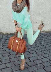 sweater,green,mint,bag,mint sweater,mint pants,pants,heels,hihg heels,scarf,shoes,jeans