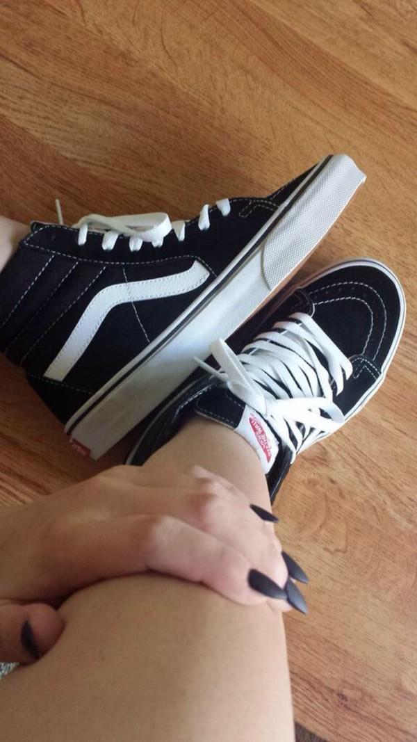 shoes vans blavk white
