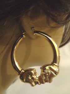 Old School Egyptian Hoop Earrings Gold Tone 2 in w and 2 5 in L | eBay