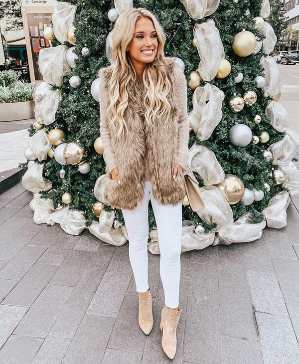jeans skinny jeans white jeans ankle boots high heels jumper faux fur fur vest