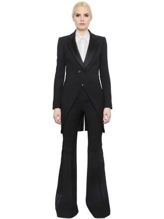 jacket silk wool black