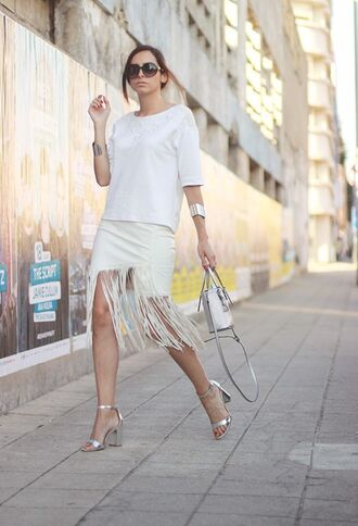 shoes silver sandals sandals high heel sandals silver high heels sandals skirt fringe skirt white skirt top white top sunglasses cuff bracelet silver bracelet bag white bag all white everything summer outfits