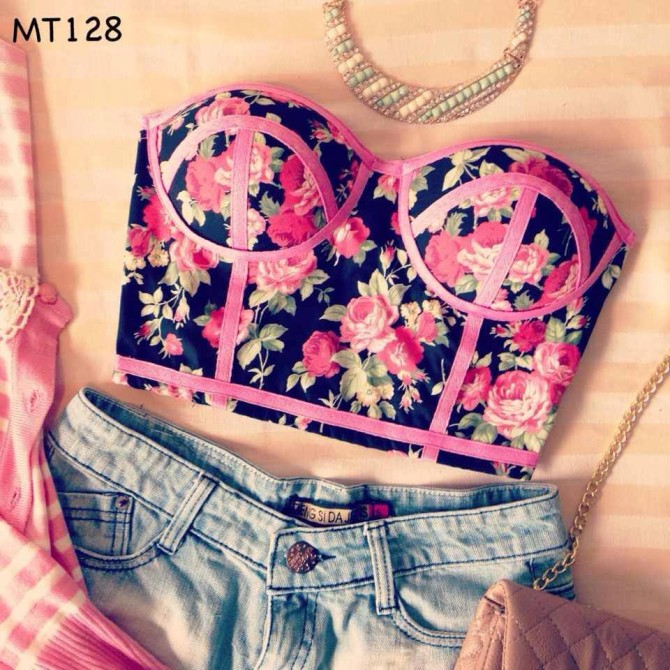 PINK FLORAL BUSTIER CORSET STYLE MIDRIFF TOP