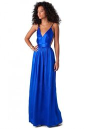 dress,royal blue maxi,royal blue gown,plunge v neck dress,backless maxi,banded waist maxi,pleated maxi,elegant gown,www.ustrendy.com