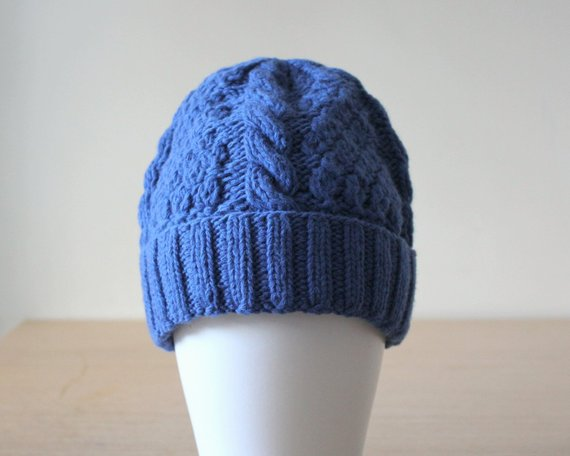 Womens blue cable knit beanie hat, Supergeelong merino wool knit hat with cuff, Sparkle Swarovski crystals embroidered hat