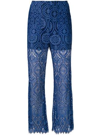 pants women lace blue