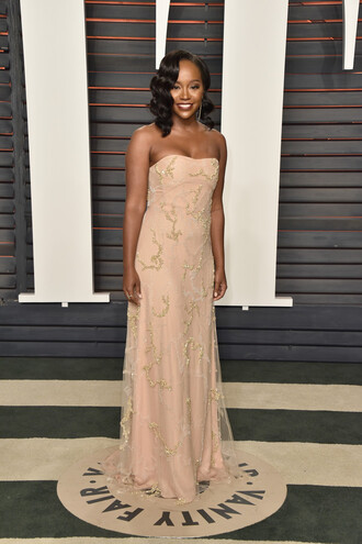 dress bustier bustier dress aja naomi king nude nude dress gown prom dress embellished