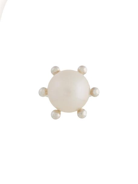 E.M. women pearl embellished silver white grey metallic jewels