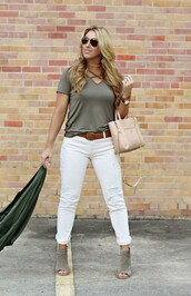 januaryhart,blogger,t-shirt,jacket,shoes,belt,bag,jewels,peep toe boots,ankle boots,short sleeve,nude bag,white jeans
