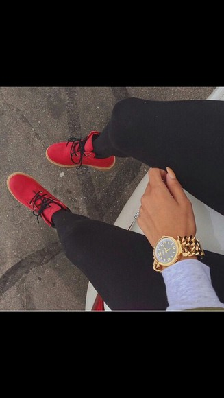 red shoes boots jewels gold watch