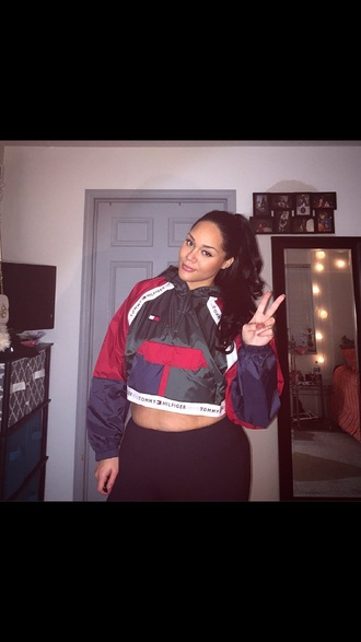 jacket tommy hilfiger tommy hilfiger windbreaker tommy hilfiger crop top crop tops red green cropped sweater cropped hoodie