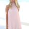 Pink halter dress - pale pink pleated halter dress | ustrendy