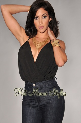 Black Open CrissCross Back Bodysuit