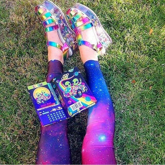 shoes leggings tights style galaxy print holographic