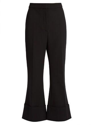 flare wool black pants