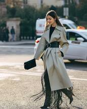 coat,grey coat,trench coat,oversized coat,thigh high boots,tassel,black blouse,earrings