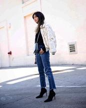 jacket,tumblr,fur jacket,white jacket,white fur jacket,denim,jeans,blue jeans,boots,black boots,bag,crossbody bag