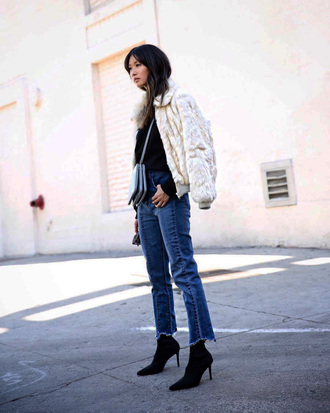 jacket tumblr fur jacket white jacket white fur jacket denim jeans blue jeans boots black boots bag crossbody bag